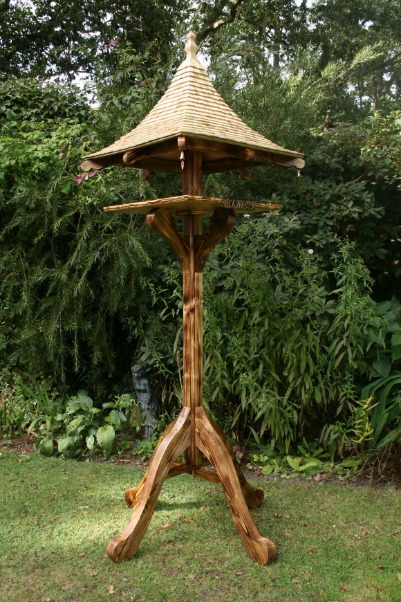 Oriental bespoke bird table without nesting box by Rob Rendall