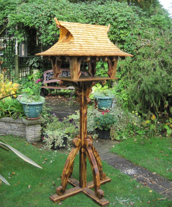 Oriental bird table with double nesting boxes by Rob Rendall