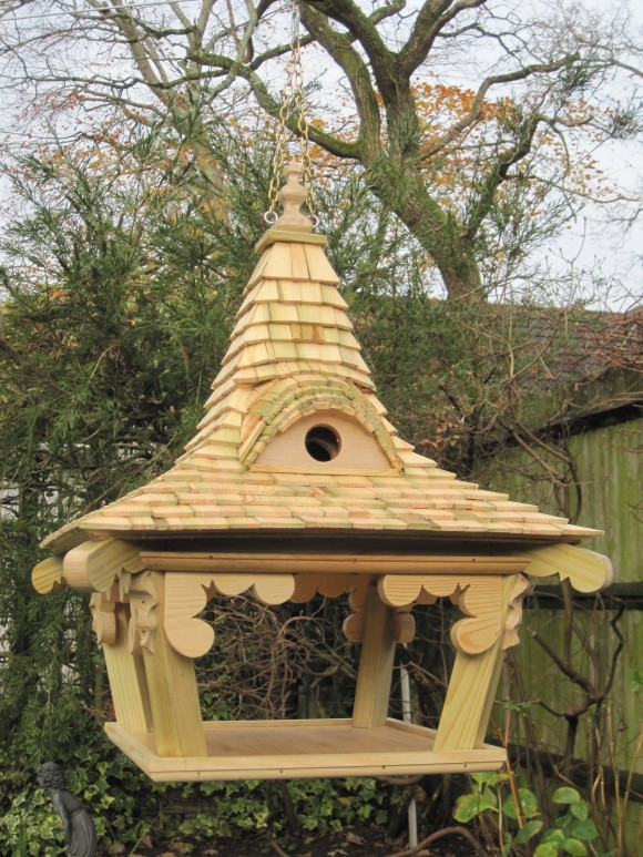 Hanging bespoke bird table by Rob Rendall