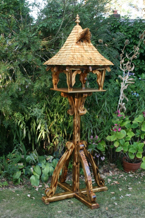 Oriental bespoke bird table with nesting box by Rob Rendall