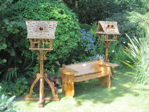 Bespoke bird tables and memorial bench